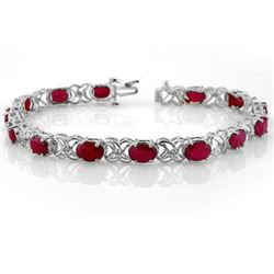 16.05 CTW Ruby & Diamond Bracelet 14K White Gold - REF-105N5Y - 10480