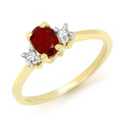1.36 CTW Ruby & Diamond Ring 10K Yellow Gold - REF-31W8H - 13563
