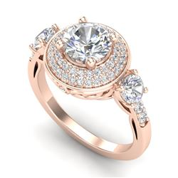 2.05 CTW VS/SI Diamond Solitaire Art Deco 3 Stone Ring 18K Rose Gold - REF-490M9F - 37263