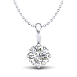 0.62 CTW VS/SI Diamond Solitaire Art Deco Stud Necklace 18K White Gold - REF-101T8X - 37022