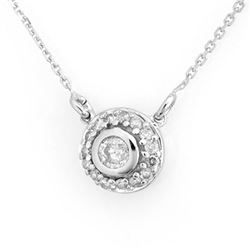 0.45 CTW Certified VS/SI Diamond Necklace 14K White Gold - REF-44T2X - 11461