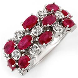 3.20 CTW Ruby & Diamond Ring 10K White Gold - REF-46F9M - 11177