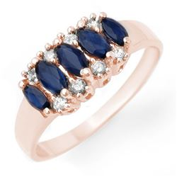 1.02 CTW Blue Sapphire & Diamond Ring 18K Rose Gold - REF-33F3M - 12959
