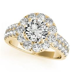 1.75 CTW Certified VS/SI Diamond Solitaire Halo Ring 18K Yellow Gold - REF-255T3X - 26439