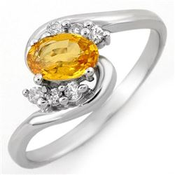 0.70 CTW Yellow Sapphire & Diamond Ring 18K White Gold - REF-32K4R - 10422