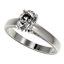 1.25 CTW Certified VS/SI Quality Oval Diamond Solitaire Ring 10K White Gold - REF-372R3K - 33010