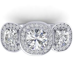 2.7 CTW Cushion Cut Certified VS/SI Diamond Art Deco 3 Stone Ring 14K White Gold - REF-592R8K - 3034