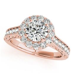 1.7 CTW Certified VS/SI Diamond Solitaire Halo Ring 18K Rose Gold - REF-409W6H - 26513