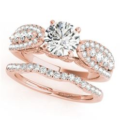 1.71 CTW Certified VS/SI Diamond Solitaire 2Pc Wedding Set 14K Rose Gold - REF-248Y2N - 31902