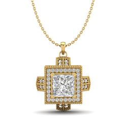 1.46 CTW Princess VS/SI Diamond Micro Pave Necklace 18K Yellow Gold - REF-418T2X - 37195
