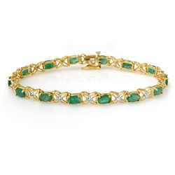 6.85 CTW Emerald & Diamond Bracelet 14K Yellow Gold - REF-72M9F - 13893