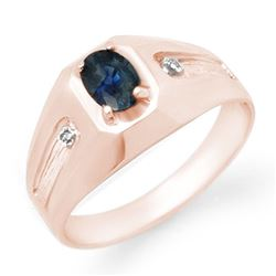 0.68 CTW Blue Sapphire & Diamond Mens Ring 18K Rose Gold - REF-52W4H - 13161