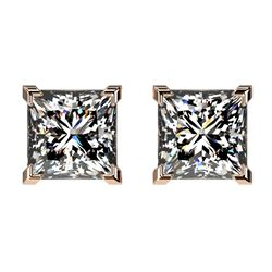 2 CTW Certified VS/SI Quality Princess Diamond Stud Earrings 10K Rose Gold - REF-552T2X - 33095