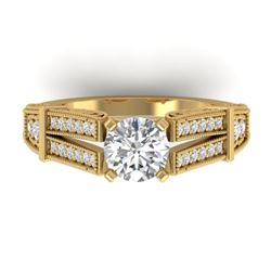 1.5 CTW Certified VS/SI Diamond Solitaire Art Deco Ring 14K Yellow Gold - REF-373T3X - 30476