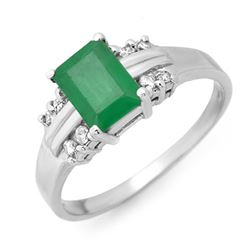 1.16 CTW Emerald & Diamond Ring 18K White Gold - REF-35X5T - 13676