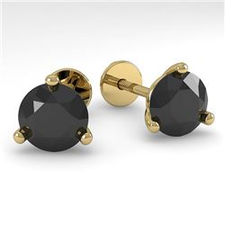 2.0 CTW Black Certified Diamond Stud Earrings 14K Yellow Gold - REF-55N5Y - 38321