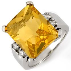 10.88 CTW Citrine & Diamond Ring 10K White Gold - REF-55F3M - 10405