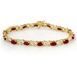 8.55 CTW Ruby & Diamond Bracelet 14K Yellow Gold - REF-78T2X - 13950