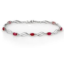3.02 CTW Ruby & Diamond Bracelet 10K White Gold - REF-40N2Y - 10858
