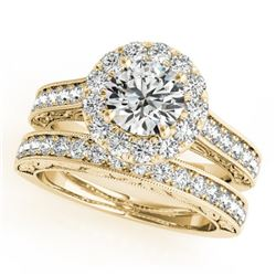 2.11 CTW Certified VS/SI Diamond 2Pc Wedding Set Solitaire Halo 14K Yellow Gold - REF-432W8H - 30953