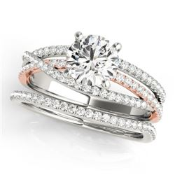 1.54 CTW Certified VS/SI Diamond 2Pc Set Solitaire 14K White & Rose Gold - REF-395R3K - 32125