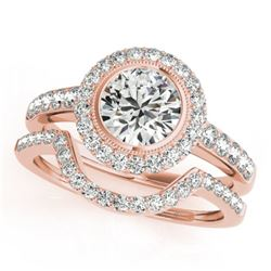 1.91 CTW Certified VS/SI Diamond 2Pc Wedding Set Solitaire Halo 14K Rose Gold - REF-414R2K - 31281