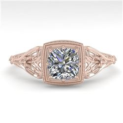 0.50 CTW Certified VS/SI Cushion Diamond Engagement Ring Deco 18K Rose Gold - REF-113M8F - 36026