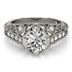 1.25 CTW Certified VS/SI Diamond Solitaire Antique Ring 18K White Gold - REF-384W2H - 27312