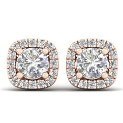1.08 CTW Certified VS/SI Diamond Solitaire Stud Halo Earrings 14K Rose Gold - REF-103T3X - 30421