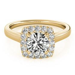 1.37 CTW Certified VS/SI Diamond Solitaire Halo Ring 18K Yellow Gold - REF-393Y5N - 26283