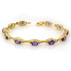 8.0 CTW Tanzanite Bracelet 10K Yellow Gold - REF-81N8Y - 10103
