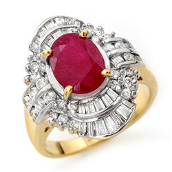 4.58 CTW Ruby & Diamond Ring 14K Yellow Gold - REF-116R9K - 13088