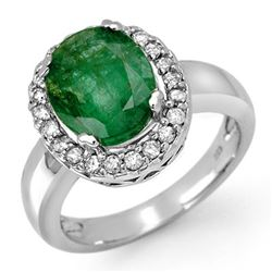 4.40 CTW Emerald & Diamond Ring 10K White Gold - REF-54M5F - 11902