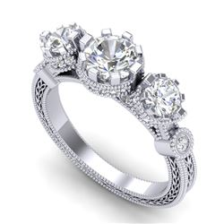 1.75 CTW VS/SI Diamond Solitaire Art Deco 3 Stone Ring 18K White Gold - REF-309N3Y - 37070