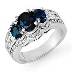 3.50 CTW Blue Sapphire & Diamond Ring 18K White Gold - REF-135X6T - 13932