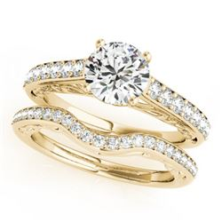 1.61 CTW Certified VS/SI Diamond Solitaire 2Pc Wedding Set 14K Yellow Gold - REF-389M5F - 31762