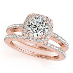 0.92 CTW Certified VS/SI Diamond 2Pc Wedding Set Solitaire Halo 14K Rose Gold - REF-134K9R - 30994