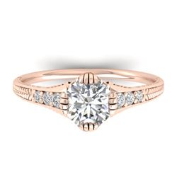 1.25 CTW Certified VS/SI Diamond Solitaire Art Deco Ring 14K Rose Gold - REF-347R3K - 30523