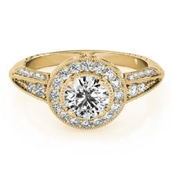 1 CTW Certified VS/SI Diamond Solitaire Halo Ring 18K Yellow Gold - REF-147T3X - 26984