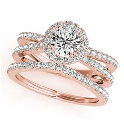 1.63 CTW Certified VS/SI Diamond 2Pc Wedding Set Solitaire Halo 14K Rose Gold - REF-234M5F - 31018