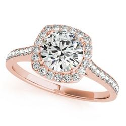 0.85 CTW Certified VS/SI Diamond Solitaire Halo Ring 18K Rose Gold - REF-125F5M - 26872
