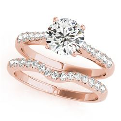 0.98 CTW Certified VS/SI Diamond Solitaire 2Pc Wedding Set 14K Rose Gold - REF-129M5F - 31575