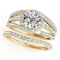 1.15 CTW Certified VS/SI Diamond Solitaire 2Pc Wedding Set 14K Yellow Gold - REF-152T8X - 32008