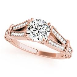 1 CTW Certified VS/SI Diamond Solitaire Antique Ring 18K Rose Gold - REF-214X2T - 27292