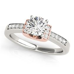 0.61 CTW Certified VS/SI Diamond Solitaire Ring 18K White & Rose Gold - REF-119F3M - 27438