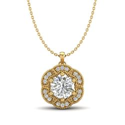 1.01 CTW VS/SI Diamond Solitaire Art Deco Necklace 18K Yellow Gold - REF-245Y5N - 37111