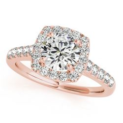 1.1 CTW Certified VS/SI Diamond Solitaire Halo Ring 18K Rose Gold - REF-148M2F - 26258