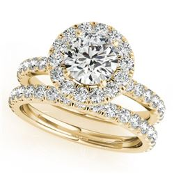 1.79 CTW Certified VS/SI Diamond 2Pc Wedding Set Solitaire Halo 14K Yellow Gold - REF-180M8F - 30749