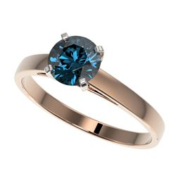 1 CTW Certified Intense Blue SI Diamond Solitaire Engagement Ring 10K Rose Gold - REF-140T4X - 32988