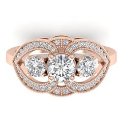 1.5 CTW Certified VS/SI Diamond Art Deco 3 Stone Ring 14K Rose Gold - REF-169K3R - 30520